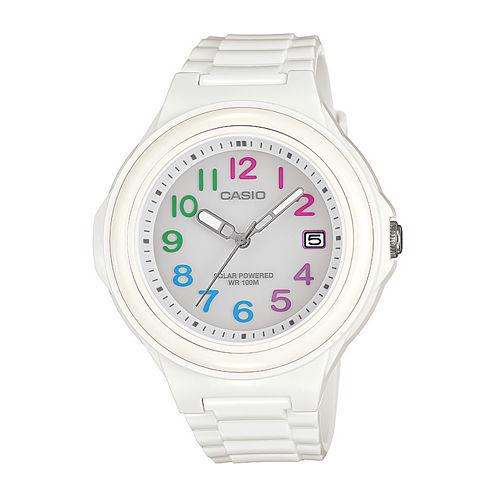 Casio® Womens White Bezel White Strap Solar Sport Watch LXS700H-7B2V