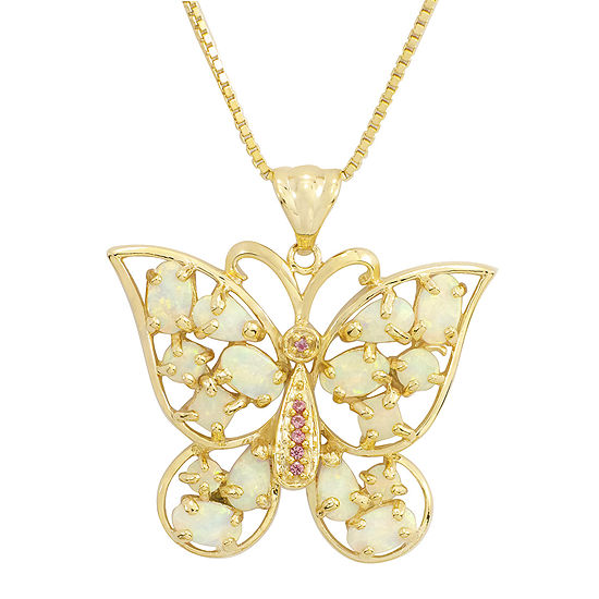 Lab Created Opal And Pink Sapphire Butterfly Pendant Necklace