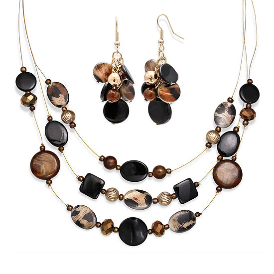 Mixit™ Black and Animal Print Bead Cluster Earring and 3-Row Illusion Necklace Set