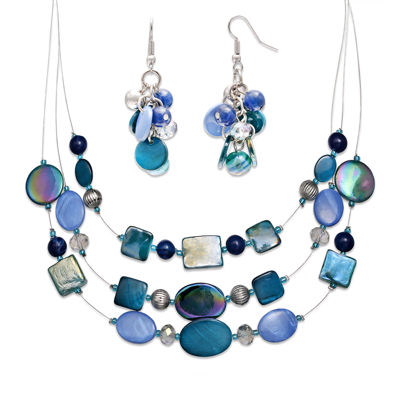 Mixit™ Blue and Silver-Tone Shell Cluster Earring and 3-Row Illusion Necklace Set