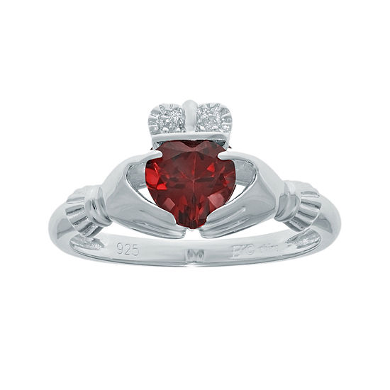 Heart-Shaped Genuine Garnet and Diamond-Accent Sterling Silver Claddagh Ring