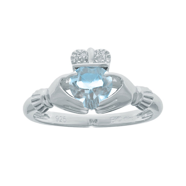 Heart-Shaped Simulated Aquamarine and Diamond-Accent Sterling Silver Claddagh Ring