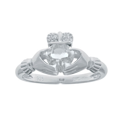 Heart-Shaped Genuine White Topaz and Diamond-Accent Sterling Silver Claddagh Ring