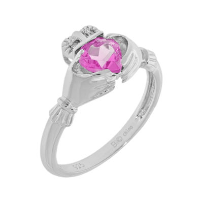 Heart-Shaped Lab-Created Pink Sapphire and Diamond-Accent Sterling Silver Claddagh Ring