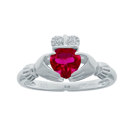 Heart Shaped Lab Created Ruby And Diamond Accent Sterling Silver Claddagh Ring