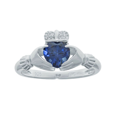 Heart-Shaped Lab-Created Sapphire and Diamond-Accent Sterling Silver Claddagh Ring