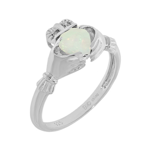 Heart-Shaped Lab-Created Opal and Diamond-Accent Sterling Silver Claddagh Ring