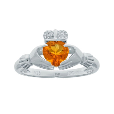 Heart-Shaped Genuine Citrine and Diamond-Accent Sterling Silver Claddagh Ring