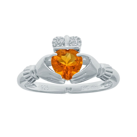 Heart Shaped Genuine Citrine And Diamond Accent Sterling Silver Claddagh Ring