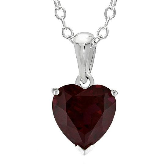 Heart-Shaped Genuine Garnet Sterling Silver Pendant Necklace