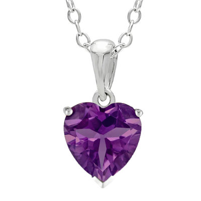 Heart-Shaped Genuine Amethyst Sterling Silver Pendant Necklace