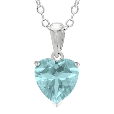 Heart-Shaped Simulated Aquamarine Sterling Silver Pendant Necklace
