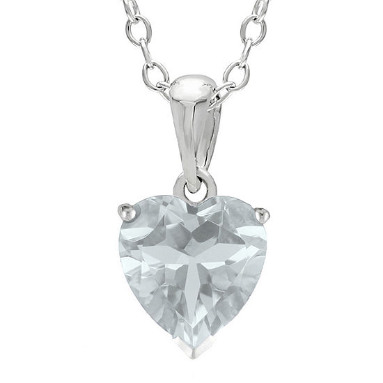 Heart-Shaped Genuine White Topaz Sterling Silver Pendant Necklace