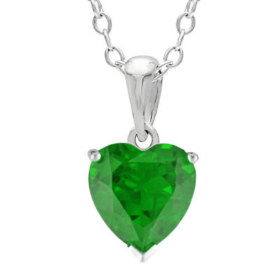 Heart-Shaped Lab-Created Emerald Sterling Silver Pendant Necklace