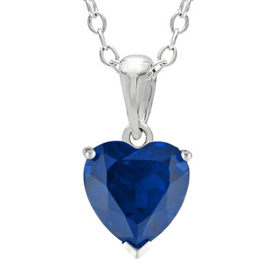 Heart-Shaped Lab-Created Sapphire Sterling Silver Pendant Necklace