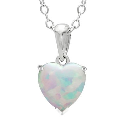 Heart-Shaped Lab-Created Opal Sterling Silver Pendant Necklace