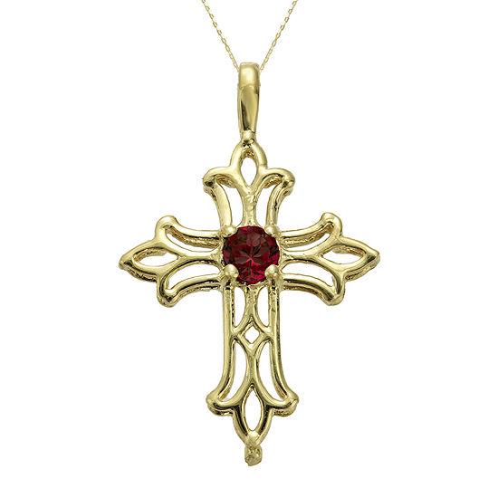 Genuine Garnet 10K Yellow Gold Cross Pendant Necklace
