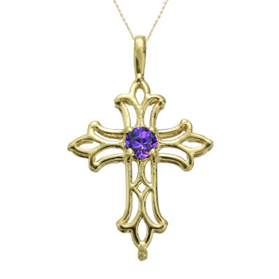 Genuine Amethyst 10K Yellow Gold Cross Pendant Necklace
