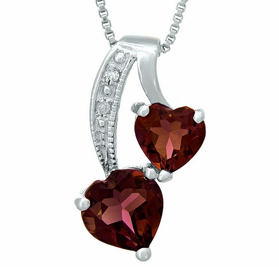 Genuine Garnet and Diamond-Accent Sterling Silver Double-Heart Pendant Necklace