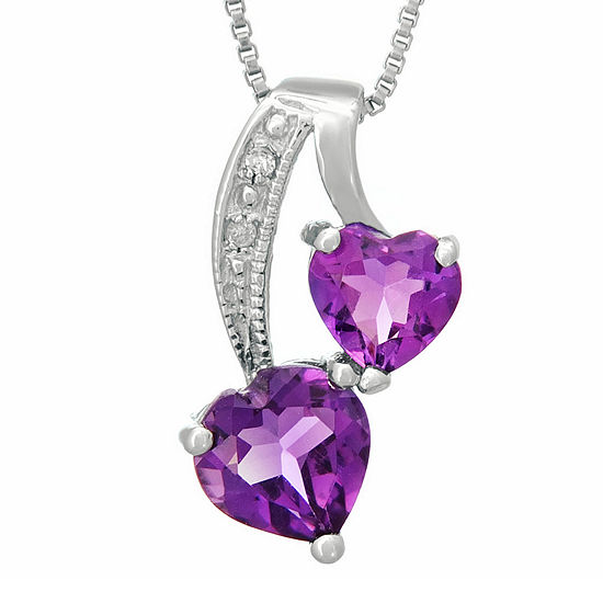 Genuine Amethyst And Diamond Accent Sterling Silver Double Heart Pendant Necklace