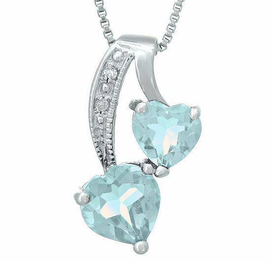 Simulated Aquamarine and Diamond-Accent Sterling Silver Double-Heart Pendant Necklace