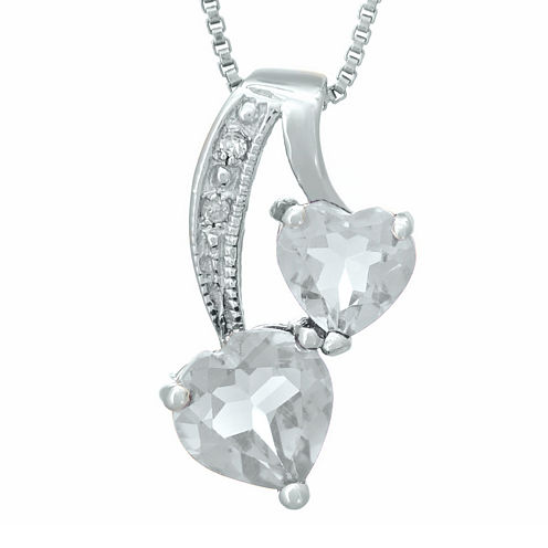 Genuine White Topaz and Diamond-Accent Sterling Silver Double-Heart Pendant Necklace