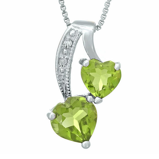 Genuine Peridot And Diamond Accent Sterling Silver Double Heart Pendant Necklace