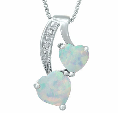 Lab-Created Opal and Diamond-Accent Sterling Silver Double-Heart Pendant Necklace