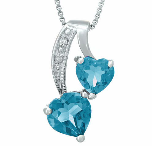 Genuine Blue Topaz and Diamond-Accent Sterling Silver Double-Heart Pendant Necklace