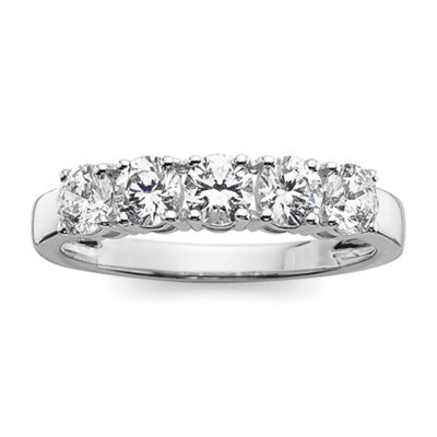 1 CT. T.W. Diamond 10K White Gold 5-Stone Wedding Band