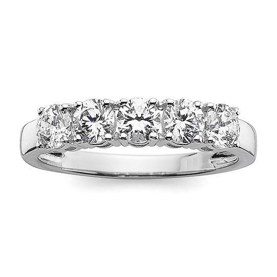 1 CT. T.W. Diamond 10K White Gold 5-Stone Wedding Band