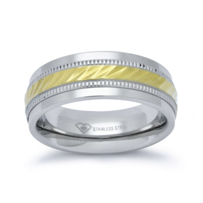 Personalized Mens 8mm Two-Tone Stainless Steel Wedding Band
