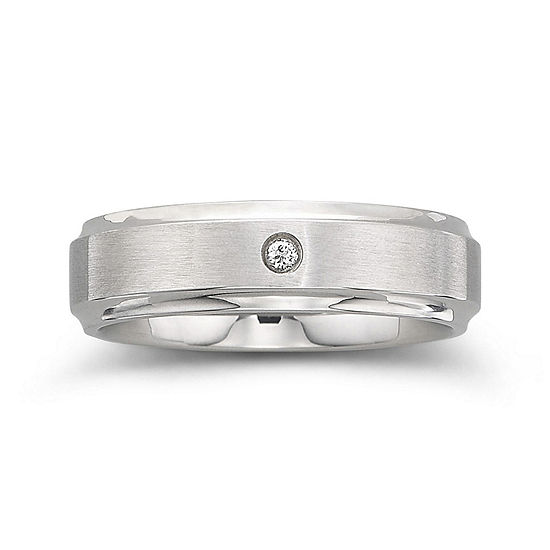 Personalized Mens Diamond-Accent 6mm Stainless Steel Wedding Band