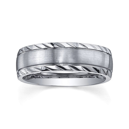 Personalized Mens 7mm Diamond-Cut Stainless Steel Wedding Band