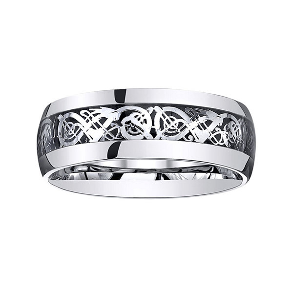 Personalized Mens Filigree Inlay Stainless Steel Wedding Band