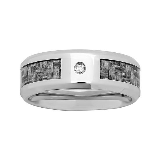 Personalized Mens Diamond Accent 8mm Stainless Steel Wedding Band