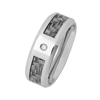 Personalized Mens Diamond-Accent 8mm Stainless Steel Wedding Band