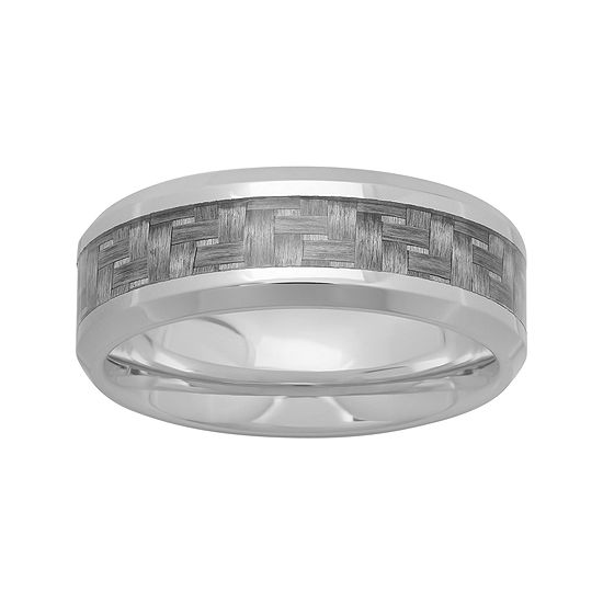 Personalized Mens 8mm Stainless Steel and Carbon Fiber Inlay Wedding Band