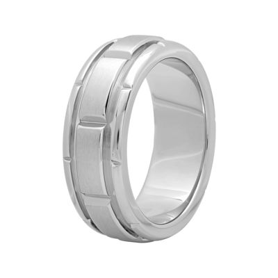 Personalized Mens 8mm Comfort Fit Stainless Steel Brick Pattern Wedding Band