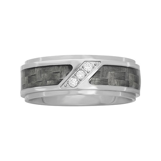 Personalized Mens 1/10 CT. T.W. Diamond 8mm Stainless Steel and Carbon Fiber Wedding Band