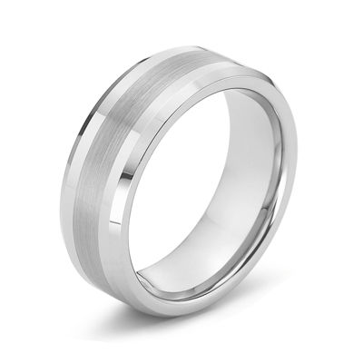 Personalized Mens 8mm Comfort Fit Satin Center Tungsten Carbide Wedding Band