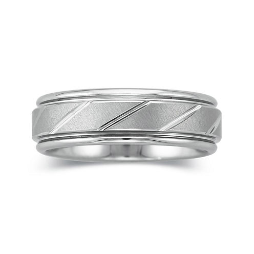 Personalized Mens 7mm Comfort Fit Tungsten Carbide Wedding Band