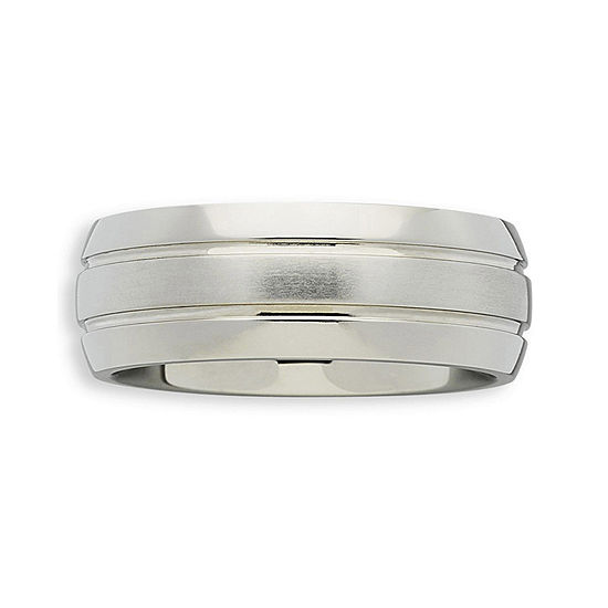 Personalized Mens 7.5mm Double-Grooved Titanium Wedding Band