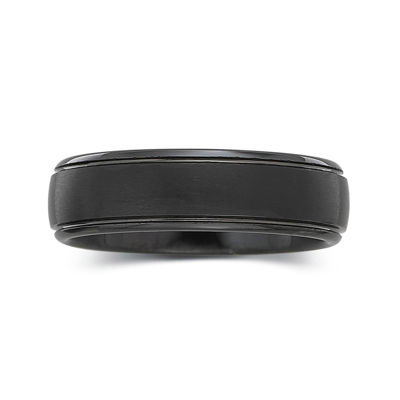 Personalized Mens 6mm Comfort Fit Black Tungsten Carbide Wedding Band