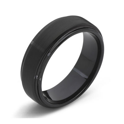 Personalized Mens 8mm Comfort Fit Black Tungsten Carbide Wedding Band