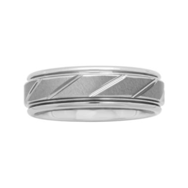 Personalized Mens 7mm Comfort Fit Tungsten Carbide Diagonal Groove Wedding Band