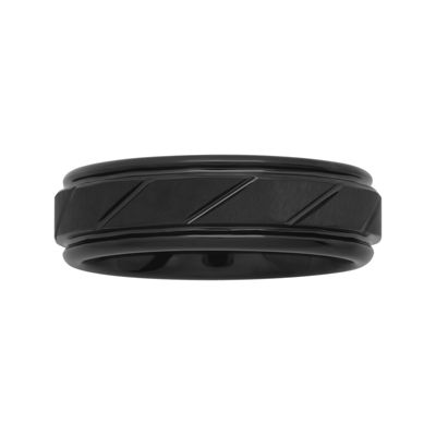 Personalized Mens 7mm Comfort Fit Black Tungsten Carbide Diagonal Groove Wedding Band