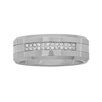 Personalized Mens 1/8 CT. T.W. Diamond 8mm Tungsten Carbide Wedding Band