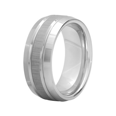 Personalized Mens 9mm Comfort Fit Tungsten Carbide Double Groove Wedding Band