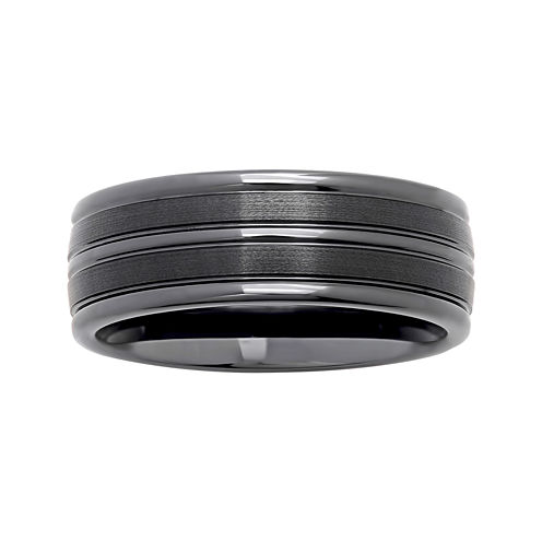 Personalized Mens 8mm Comfort Fit Striped Black Ceramic Wedding Band